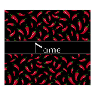 Personalized name black red chili pepper poster