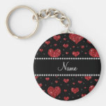 Personalized name black red glitter hearts basic round button keychain