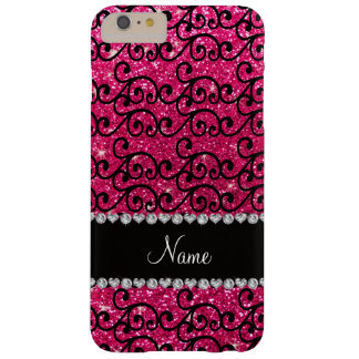 Personalized name black rose pink glitter swirls barely there iPhone 6 plus case