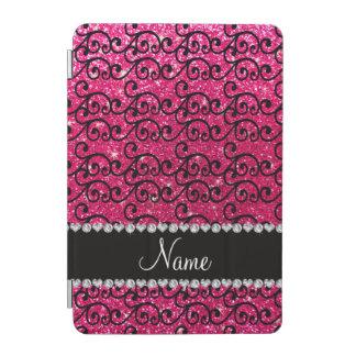 Personalized name black rose pink glitter swirls iPad mini cover