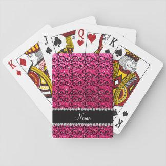Personalized name black rose pink glitter swirls poker deck
