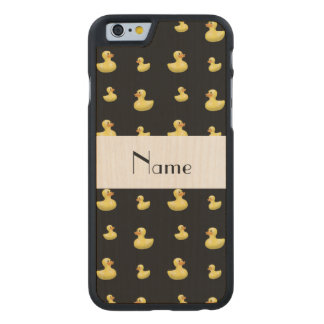 Personalized name black rubber duck pattern carved® maple iPhone 6 case