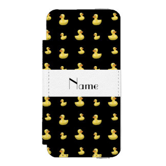 Personalized name black rubber duck pattern incipio watson™ iPhone 5 wallet case