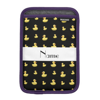 Personalized name black rubber duck pattern iPad mini sleeves
