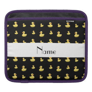 Personalized name black rubber duck pattern sleeve for iPads