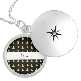 Personalized name black rubber duck pattern custom jewelry