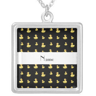 Personalized name black rubber duck pattern necklaces