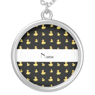 Personalized name black rubber duck pattern custom necklace