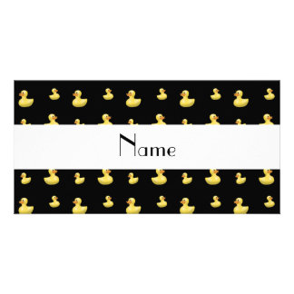 Personalized name black rubber duck pattern photo card