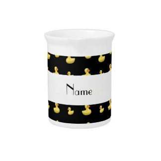 Personalized name black rubber duck pattern pitcher
