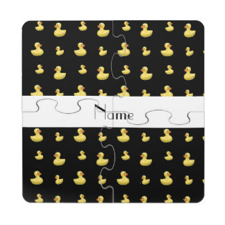 Personalized name black rubber duck pattern puzzle coaster