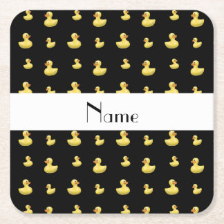 Personalized name black rubber duck pattern square paper coaster