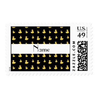 Personalized name black rubber duck pattern stamps
