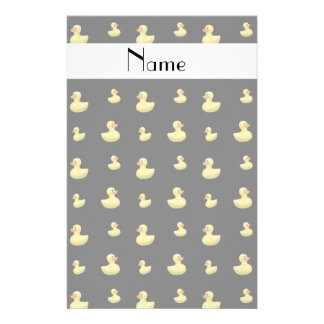 Personalized name black rubber duck pattern stationery