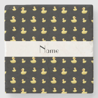 Personalized name black rubber duck pattern stone beverage coaster