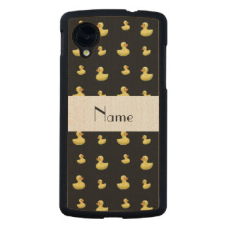 Personalized name black rubber duck pattern carved® maple nexus 5 slim case