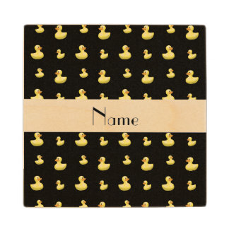Personalized name black rubber duck pattern wood coaster