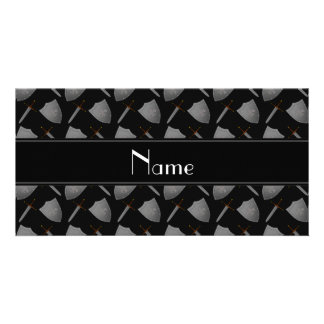 Personalized name black shields and swords custom photo card