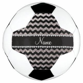 Personalized name black silver glitter chevrons soccer ball