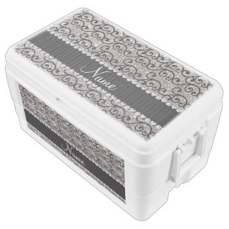 Personalized name black silver glitter swirls cooler