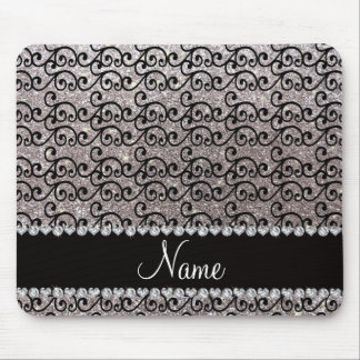 Personalized name black silver glitter swirls mouse pad