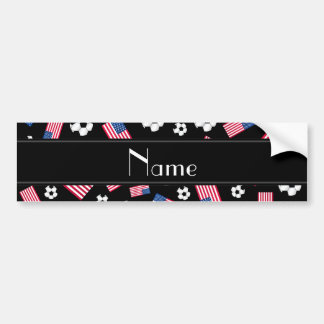 Personalized name black soccer american flag bumper stickers