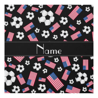Personalized name black soccer american flag panel wall art