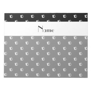 Personalized name black soccer balls note pads