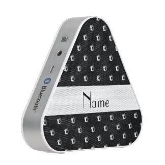 Personalized name black soccer balls speaker