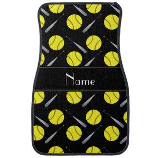 Personalized name black softball pattern car floor mat