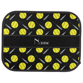 Personalized name black softball pattern car mat