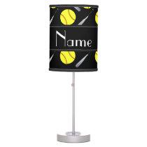 Personalized name black softball pattern desk lamp