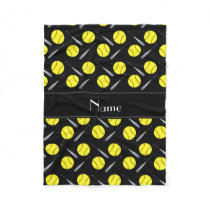 Personalized name black softball pattern fleece blanket