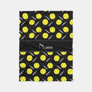 Personalized name black softball pattern fleece blanket