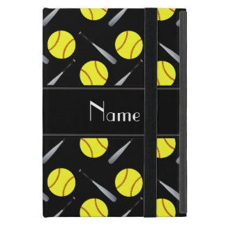 Personalized name black softball pattern iPad mini cover