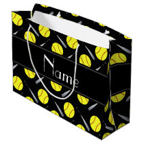 Personalized name black softball pattern large gift bag