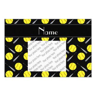 Personalized name black softball pattern photo print