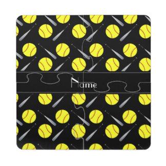Personalized name black softball pattern puzzle coaster
