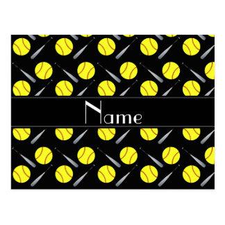 Personalized name black softball pattern postcard