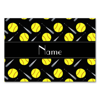 Personalized name black softball pattern table cards