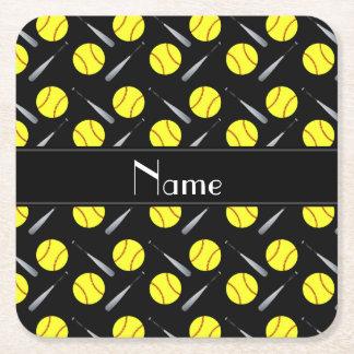 Personalized name black softball pattern square paper coaster