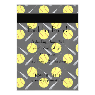 Personalized name black softball pattern magnetic invitations