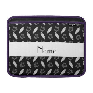 Personalized name black surfboard pattern sleeves for MacBook air