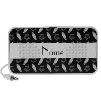 Personalized name black surfboard pattern travelling speaker