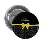 Personalized name black swirls gold glitter bow pin
