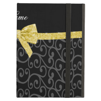 Personalized name black swirls gold glitter bow iPad folio cases