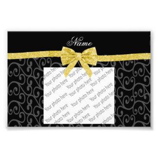 Personalized name black swirls gold glitter bow photo print