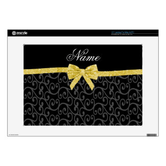 Personalized name black swirls gold glitter bow decals for laptops