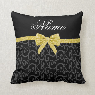Personalized name black swirls gold glitter bow throw pillow
