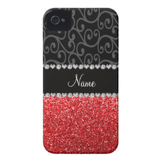 Personalized name black swirls red glitter Case-Mate iPhone 4 cases